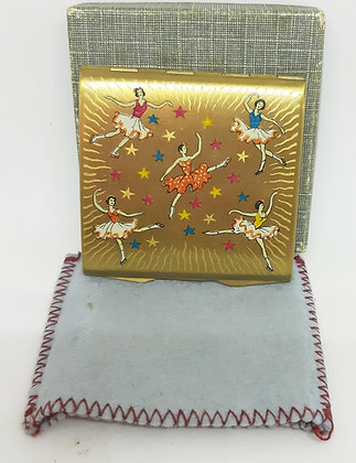 """Stratton """"Punt"""" Powder Compact 1940's Ice Skaters"""