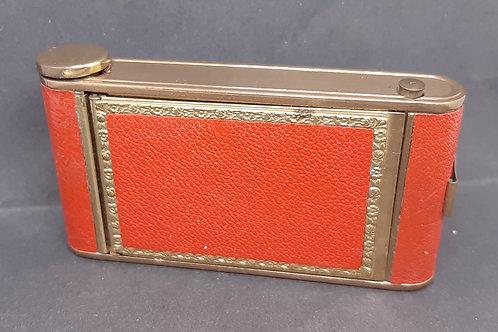 1930s KAMRA Compact Powder, Cigarette & Lipstick Case Red Leather