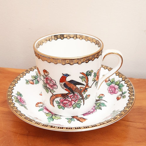 c1904 BWM Cauldon China Coffee Can & Saucer 3485 Bird & Flowers