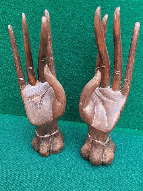 Pair Carved Hardwood Hands
