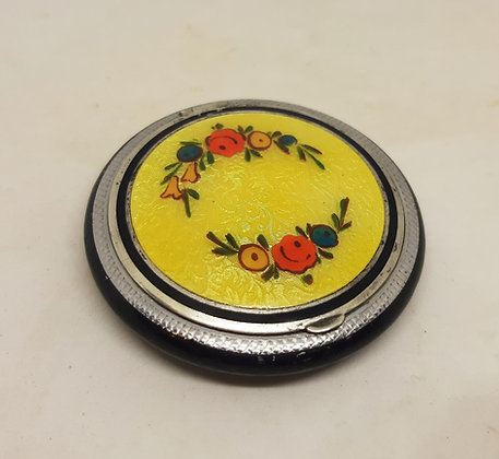 Elgin American 1920s Silver Guilloche Painted Flowers E.A.M Co