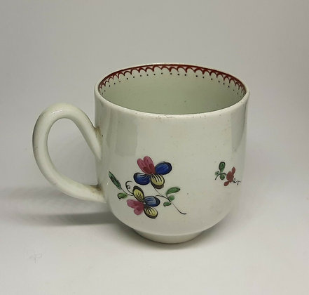 18thC Liverpool Porcelain Coffee Cup Polychrome flowers