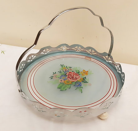 Vintage Swing Handle Glass & Chrome Tray