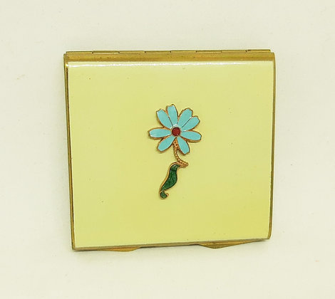 Vintage Stratton Punt Compact Cream with  Enamel Flower
