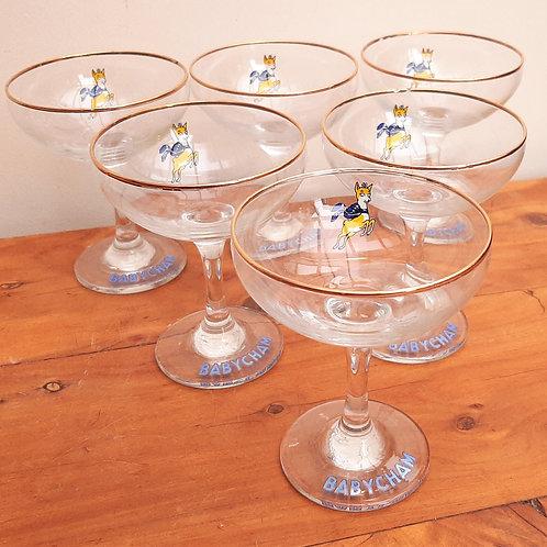 Set x6 Vintage Babycham Glasses