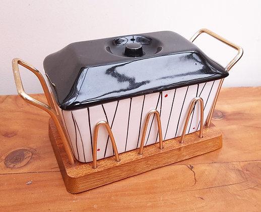 Retro Kirkham Pottery/Wyncraft Butter Dish on stand