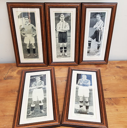 5 Framed Topical Times Large Football Cards
