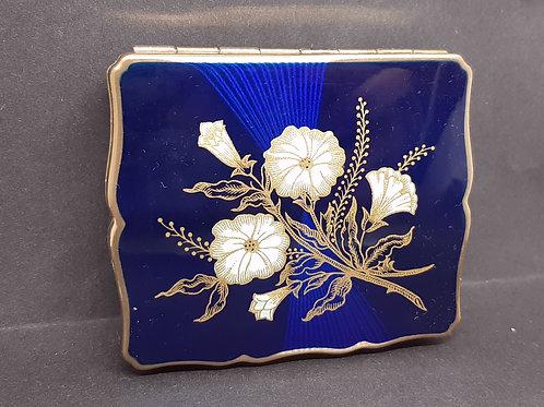 Stratton Musical Empress Powder Compact Blue Enamel Convolvulus Unused