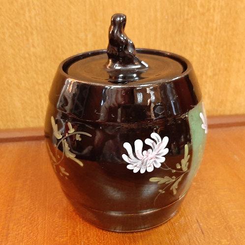 Victorian Jetware Tobacco Jar Sybil Finial