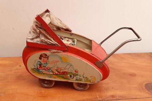 1950's Tin Plate Dolls House Toy Pram W.germany
