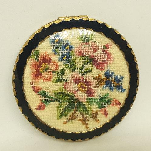Vintage Petit Point Floral & Black Enamel Powder Compact
