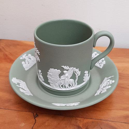 Wedgwood Green Jasperware Coffee Can & Saucer (Glazed)
