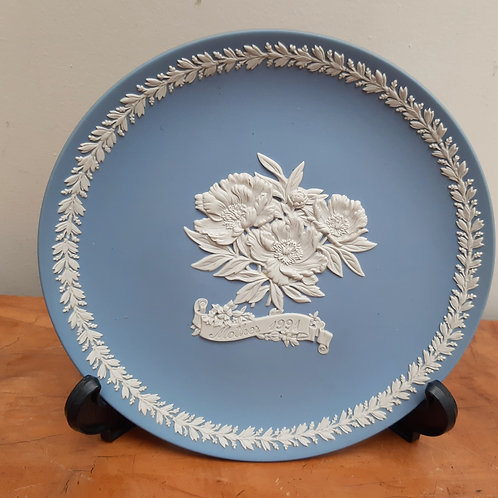 Wedgwood Blue Jasperware Mother 1991 Cabinet Plate