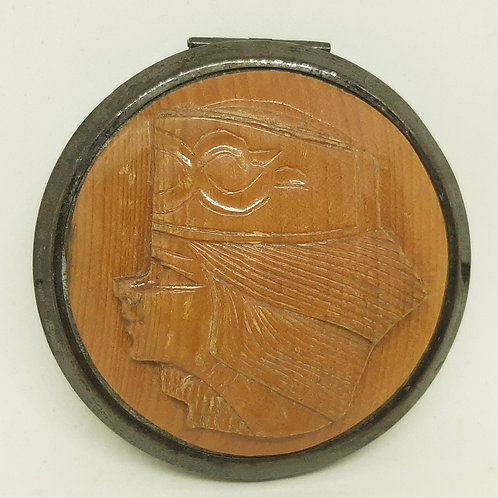 Unusual Carved Wood Powder Compact Girl in Traditional Hat