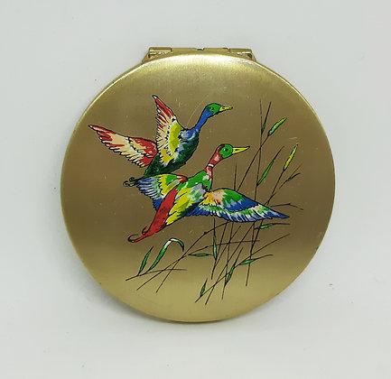 Stratton 1950s Powder Compact Flying Rainbow Ducks