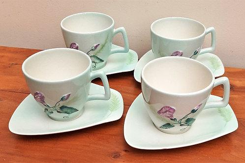 Carlton Ware Set of 4 Cups & Saucers Convolvulus Green