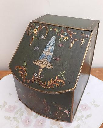 Vintage Style Toleware Tin Storage box Birds & fountains