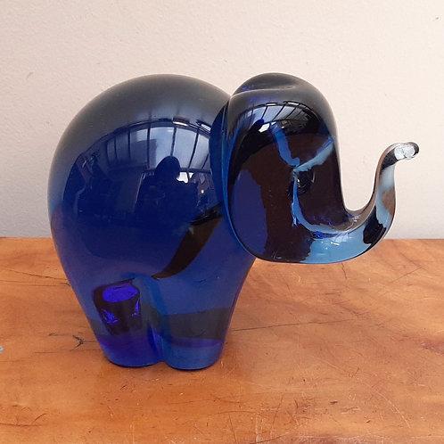 Wedgwood Sapphire Blue Glass Elephant 1970s