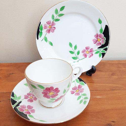 Grosvenor China Hand Painted Tea Trio Pink Flowers