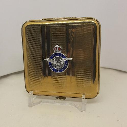 Vintage GWENDA Goldtone RAF Powder Compact