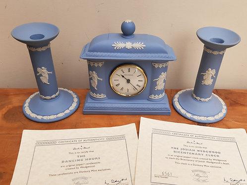 Wedgwood Jasperware Bicentenary Dancing Hours Clock & Candlesticks
