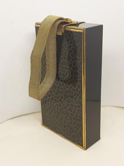 ART DECO Park Lane LSM Carryall Compact Cigarette Case Black Crackle