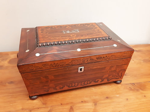 Large Inlaid Rosewood & Maple Jewellery Box Poearl Swans