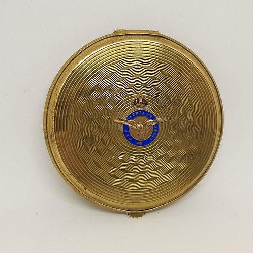 1930s Gwenda Brass Engine Turned RAF Sweetheart Compact