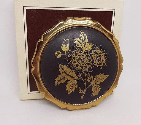 Stratton Princess Black Porcelain Gold Flowers O/H