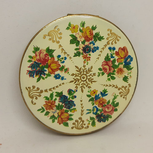 1950s Stratton O/H Cream enamel Floral Gilt Complete