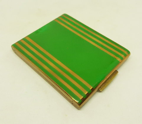 Stratton Early Wafer Compact Green & Gold Stripes