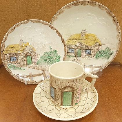 SylvaC Croft Cottage Ware Tea Trio & Side Plate 4818