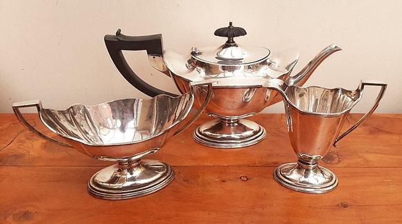 Quality Georgian Shape Silver Plated 3pc Tea Set