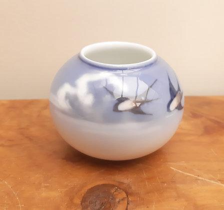 Royal Copenhagen Squat Vase Flying Swallows 267