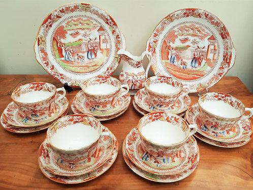 Early 19thC Part Tea Service Mongol Huntsman/Sana