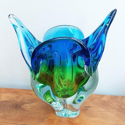 """Chribska Czech """"Cat Ears"""" Vase Blue & Green"""