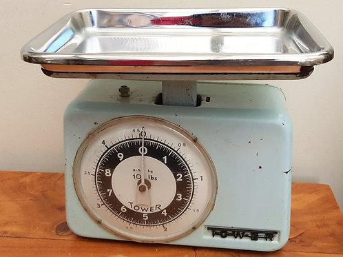 Kitsch 1950s Blue Enamel Kitchen Scales TOWER