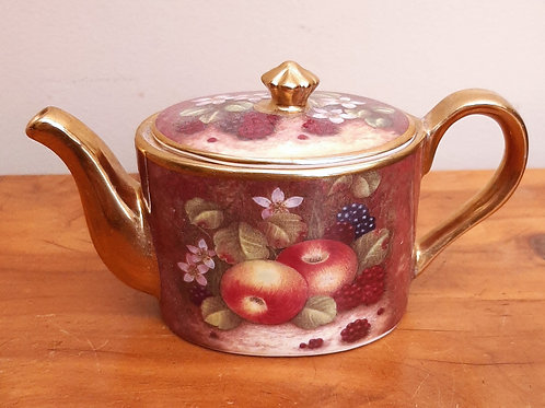 Ayshford China Miniature Cabinet Teapot Autumn Fruit Gold