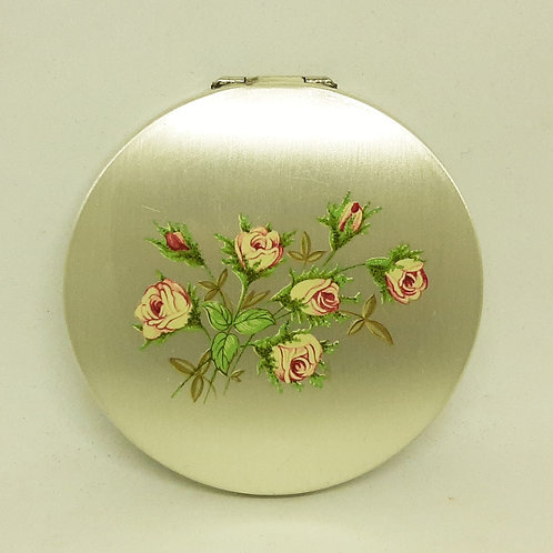 Stratton Silver Plated Convertible Compact Pink Roses