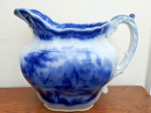 c1891 Burgess & Leigh Non Pareil Flow Blue Jug