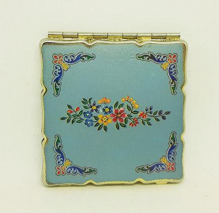 """Vintage """"Royale"""" Japan Powder Compact Blue Floral Complete"""