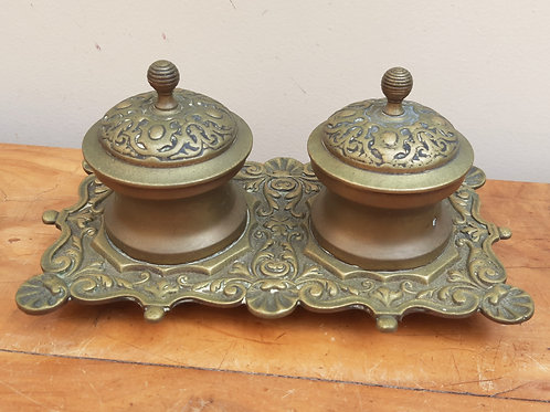 Vintage Ornate Brass Double Inkwell With Liners