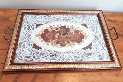 Vintage Tea Tray Lace & Dried Flowers