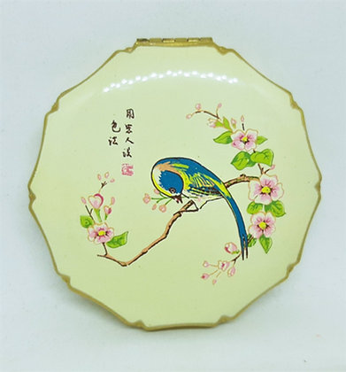Unusual KIGU Powder Compact Enamel Japanese Cherry Blossom