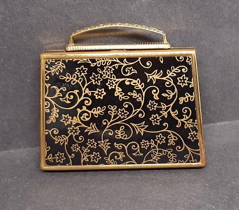 Novelty Mascot Handbag Compact Black Gold Scrolling Flowers