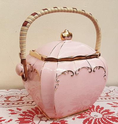 Sadler Cube Biscuit Barrel Pink & Gold