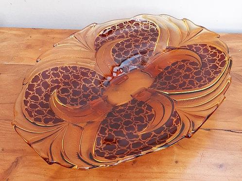 Art Deco Stolzle Czech Amber Glass Shallow Dish