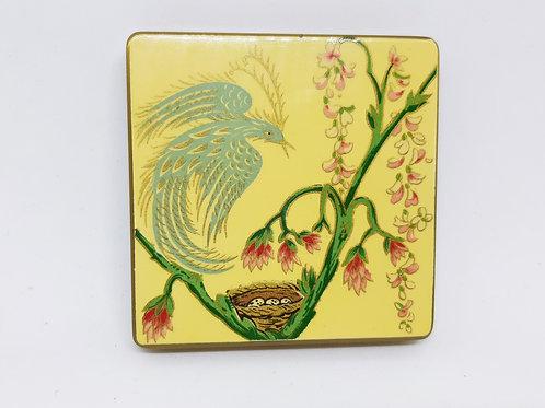 Vogue Vanities Enamel Compact Exotic Bird & Nest