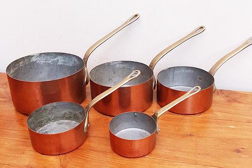 Vintage Graduated Set of 5 Copper & Brass Pans
