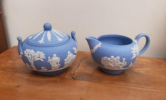 Wedgwood Blue Jasperware Covered Sugar & Milk Jug Set Sacrifice